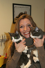 Trude the vet with cats